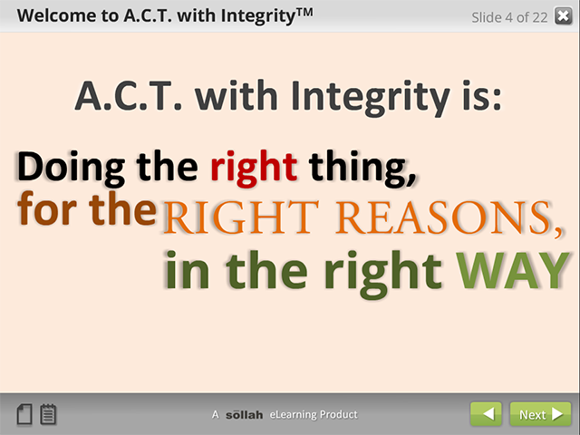 A.C.T.with Integrity&#153: (eCourse)